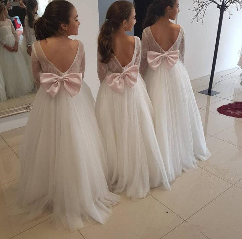 Simple Design Tulle First Communion Gowns with Bow For Elegant Princess Custom Made Flower Girl Dress For Wedding Backless Longo