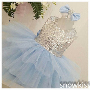 New light blue sequined flower girl dresses with bow short scoop neckline sleeveless wedding birthday parties kids ball gowns