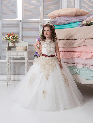 Long Ball gown Sleeveless flower girl dress with champagne lace appliques and red sash children first communion gown for wedding
