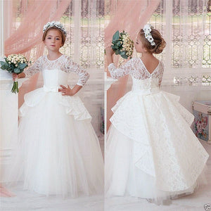 Vintage White/ivory sheer lace flower girl dress V-back ball gown kids holy the first communion gown with sleeves for wedding