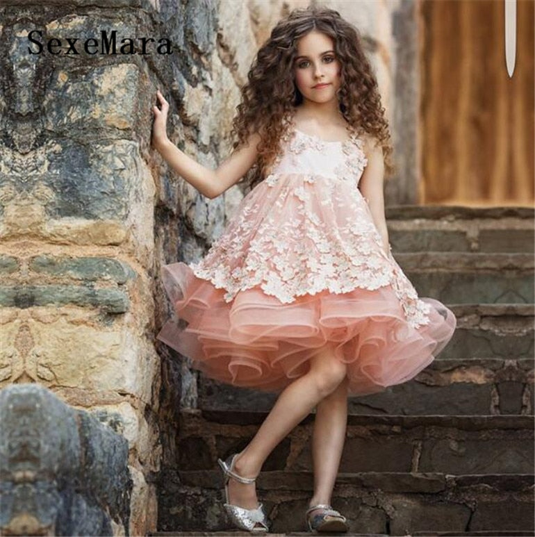 Real Picture Pink Sweet Flower Girl Dresses for Wedding Satin with Tulle Appliques Straps Girls Birthday Party Dress Ball Gown