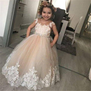 Champagne Ball Gown Lace Flower Girl Dresses For Wedding Sheer Jewel Neck Kids Pageant Gowns Puffy Tulle Birthday Dress with Bow