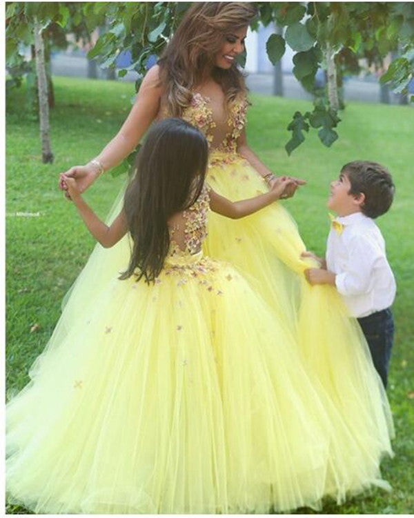 High Quality Yellow Flower Girl Dress for Wedding Tulle 3D Flowers Girls First Communion Gown Custom Made Any Size