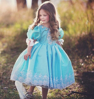 Little Princess Ball Gowns For Wedding Crystal Jewel Neck Short Sleeves Flower Girls Dresses Lace Applique Pageant Gown