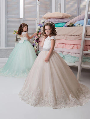 Flower Girl Dresses Ball Gown White Lace Sleeveless Long Wedding Pageant First Communion Dresses for Little Girls