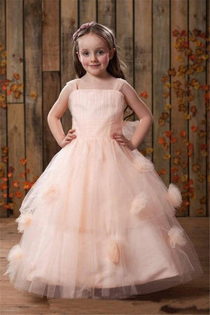 2019 Blush Pink Flower Girl Dress For Beach Wedding Backless Customized Pageant Gowns For Princess Tulle Formal Wear Vestidos