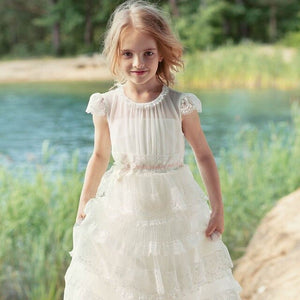 2019 New Coming Princess Dress Lace Flower Girl Dress for Wedding Birthday Party Girls Formal Wears Holy First Communion Gowns