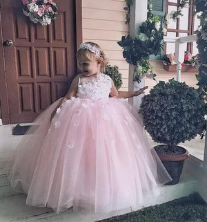 Lovely Pink Tulle Flower Girl Dress For Weddings With 3D Floral Appliques Beading  Baby Birthday Gowns Puffy Pageant Gowns