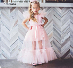 New Coming Tulle Girls Clothes with Cap Sleeves Ribbon Backless Custom Made Flower Girl Dress For Wedding Robe De Fiesta Vestido