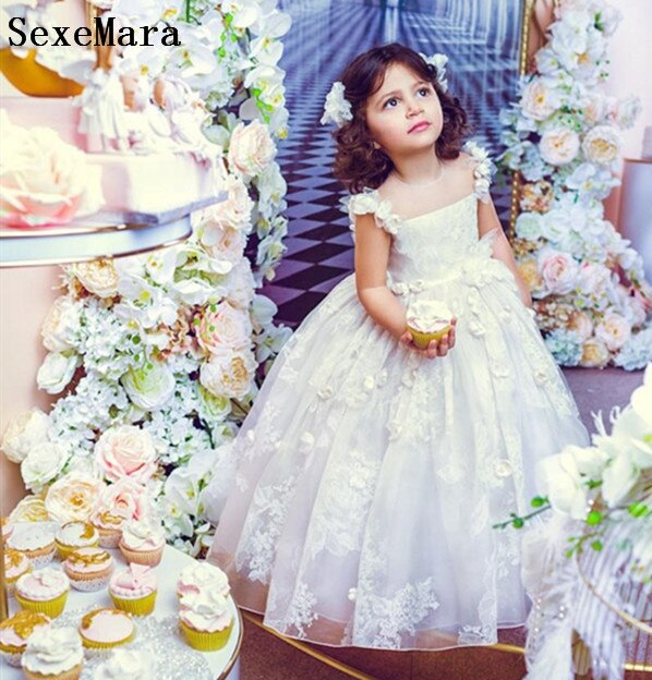 New White Lace Girls Birthday Party Dresses Kids Children Pageant Prom Communion Gown Flower Girl Dress for Wedding Party