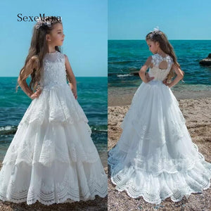 White Lace Flower Girls Dresses for Wedding Tiered Puffy Tulle Applique Girls Dresses for Special Occasion