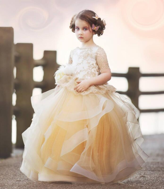 Champagne sheer laces ruffles tulle Flower Girl Dresses ball gown long first communion gown for wedding and party with sleeves