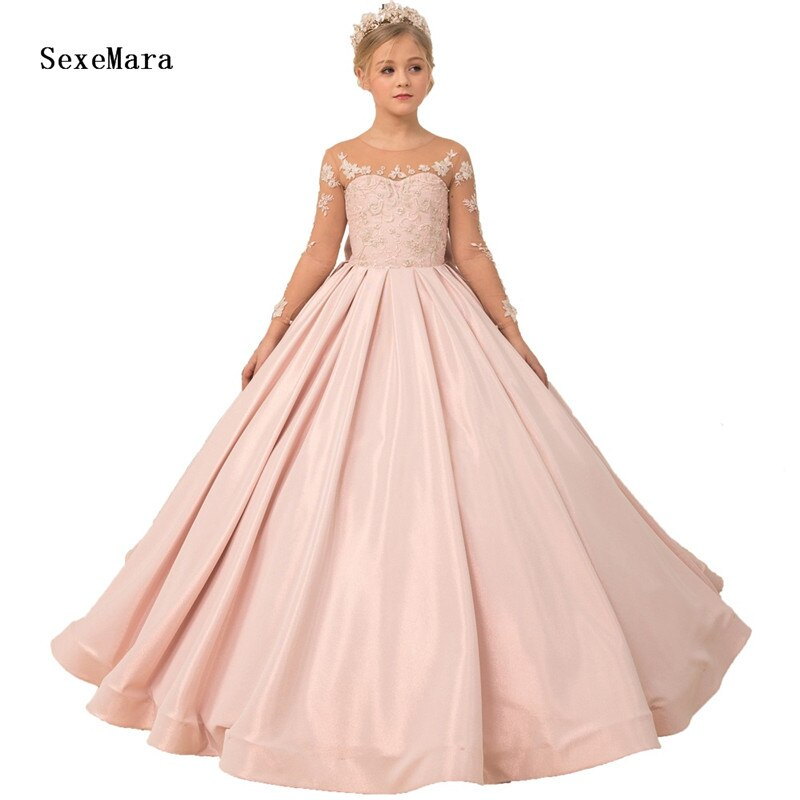 Elegant Pageant Party Dress for Girls with Long Sleeve Lace Top Satin Kids Evening Prom Ball Gowns Girl Dresses for Wedding