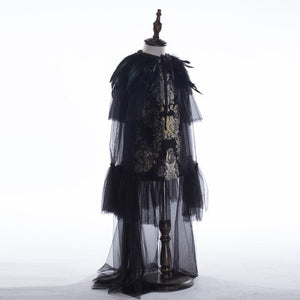 D-083 Children's wedding dress black feather Show Girl Dresses Performance Costumes Princess Dress