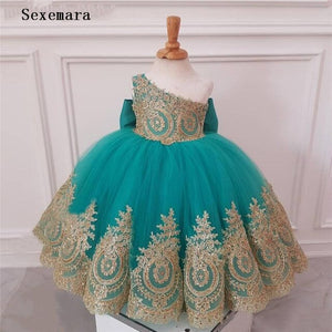 Cute Blue One Shoulder Flower Girl Dresses For Weddings Gold Lace Kids Evening Gown Girls First Birthday Dress with Bow