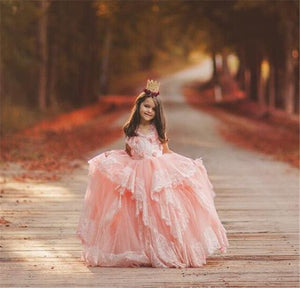 Pink Princess Ball Gown Flower Girl Dress For Wedding Lace Cap Sleeve Handmade Flowers Girls Pageant Gowns Communion Dress