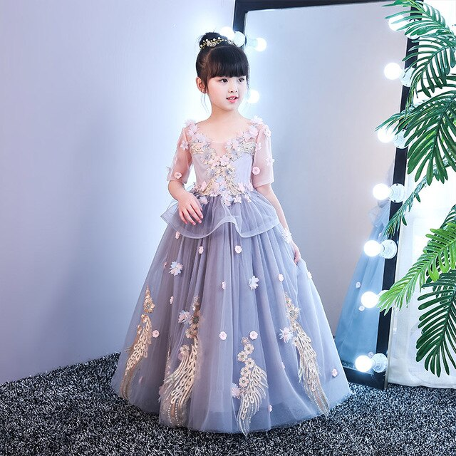 1-12 Years Luxury Holy Communion Dress Ball Gown Flower Girl Dresses for Wedding Floor Length Embroidery Kids Birthday  Dress