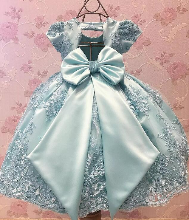 Sky Blue Lace Short Sleeve Baby Girls Birthday Party Dresses with Big Bow Flower Girls Dresses for Wedding 12M-24M