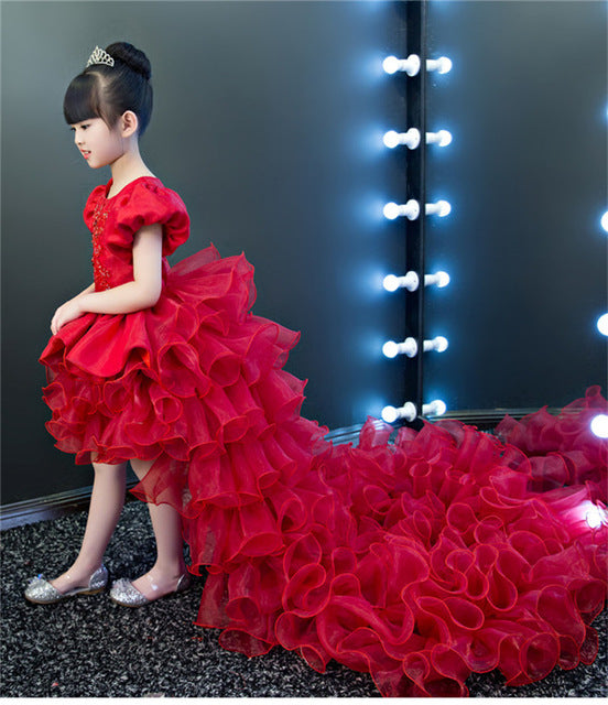 2019 New Luxury Sweet Children Kids Babies New Year Red Color Dress With Long Trailing Girls Birthday Wedding Model Show Dress