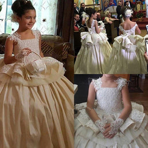 Puffy Ball Gown Girls First Communion Dress Lace Beaded Tulle Flower Girl Dresses For Wedding Any Size