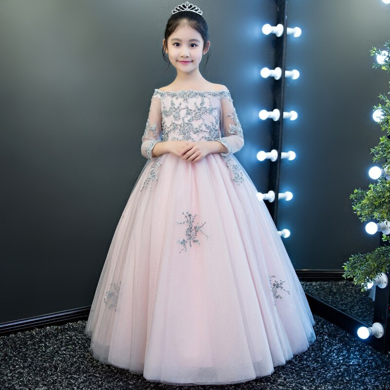 New Children Girls Hand-Made Beading Elegant Wedding Birthday Holiday Party Long Ball Gown Dress Kids Fashion Shoulderless Dress
