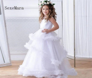 New 2019 Ruffled Flower Girl Dress for Wedding Lace Up Back Toddler Girls Pageant Gowns Sleeveless Custom Made Floor Length
