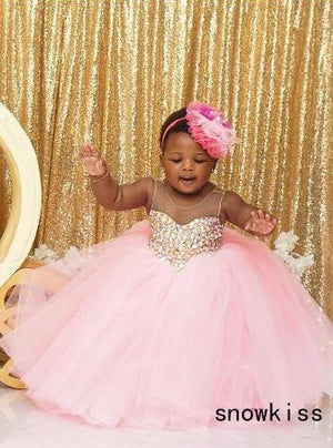 Puffy pink tulle south arabic tutu flower girl dress crystals rhinestones baby infant bling sparkly birthday wedding party gown