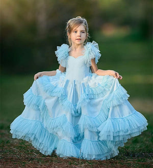 Unique Sky Blue Tulle Flower Girl Dress For Wedding Kids First Communion Gowns Tiered Ruffles Custom Made Girls Pageant Gowns