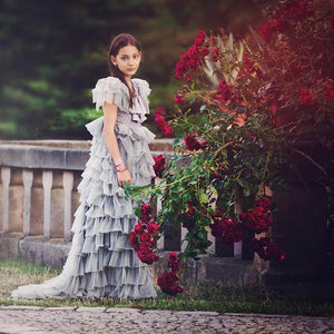 New Fashion children's Clothing Girl lace Dress Dance Girls Wedding Performance Party  Dresses Four Seasons Girl Layered Dress