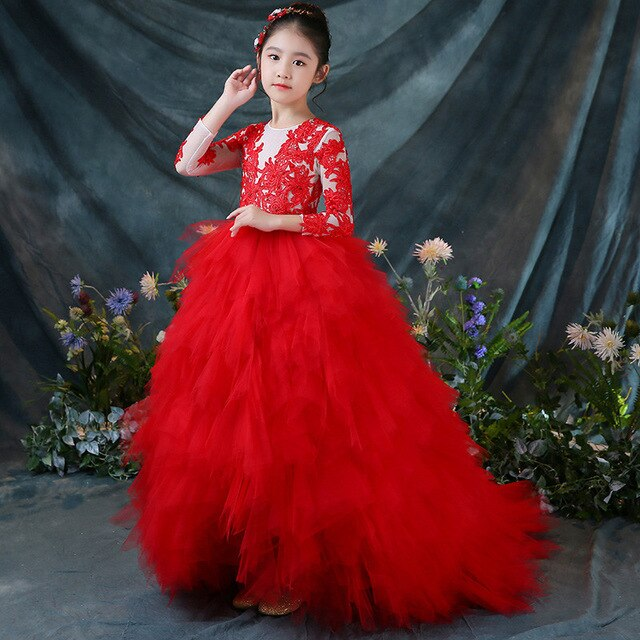 2018 Autumn Luxury Children Toddler Red Color Birthday Wedding Party Princess Lace Mesh Tail Dress Girls Teens Model Show Dress