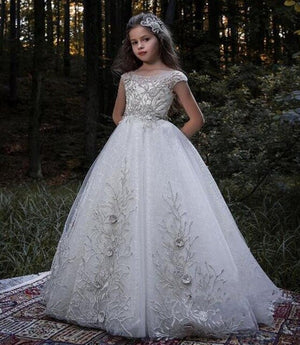Luxury Silver Lace Flower Girl Dresses For Weddings Girls Pageant Gown Princess Kids First Communion Dress Size 2-16Y
