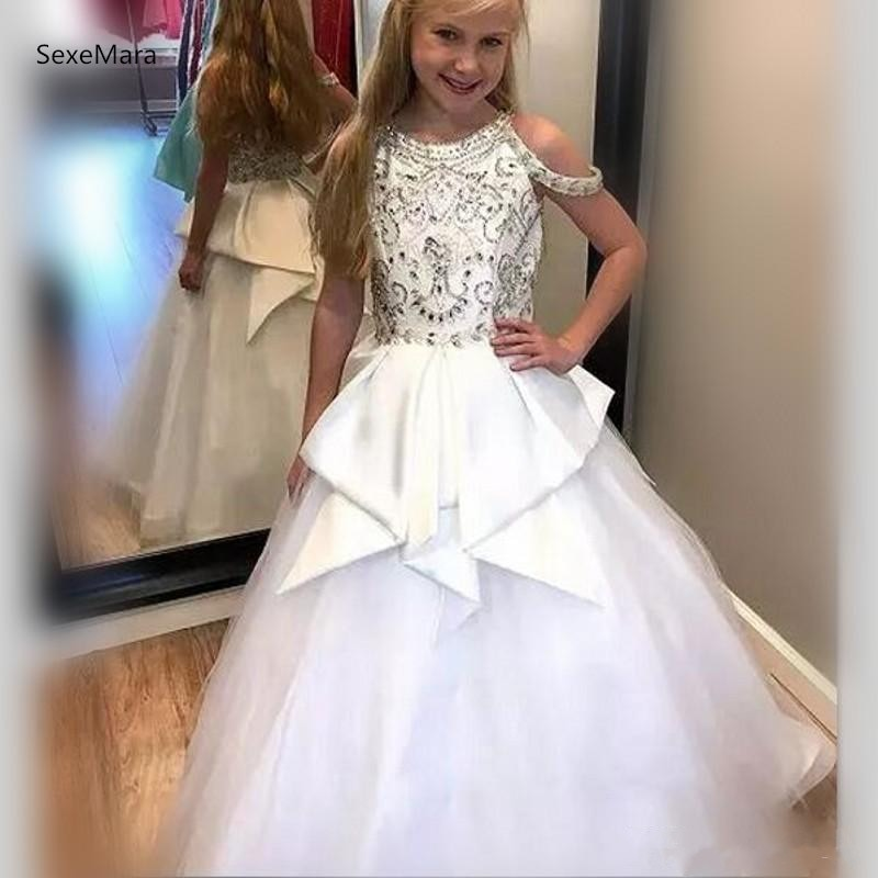 White Luxury Girls Pageant Dresses Ball Gown Puffy Tulle Crystals Beading Flower Girls Dress for Wedding Custom Made Size