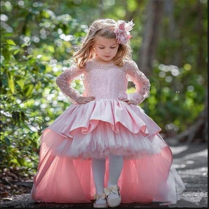 New High Low Pink Cute Flower Girls Dresses For Wedding with Bow Satin Ball Gowns For Birthday Party Long Sleeves Custom Made
