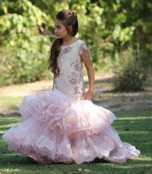 New Pink Flower Girl Dresses for Wedding Beading Lace Kids Dress for Wedding Pageant Dress Girls Birthday Party Gown Custom Made