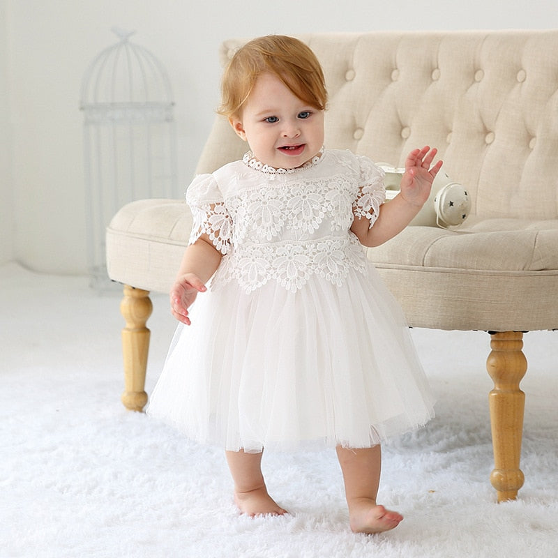 2019 Summer Baby Girl Dress Christening Dress for Newborn Lace White Baptism Dress 1st Birthday Party Dress