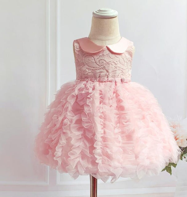 Newborn Girl Christening Dress Pink Tulle Beads Baby Girls Birthday Party Dress Infant Baptism Costume Kids Wedding Dress 0-24 M