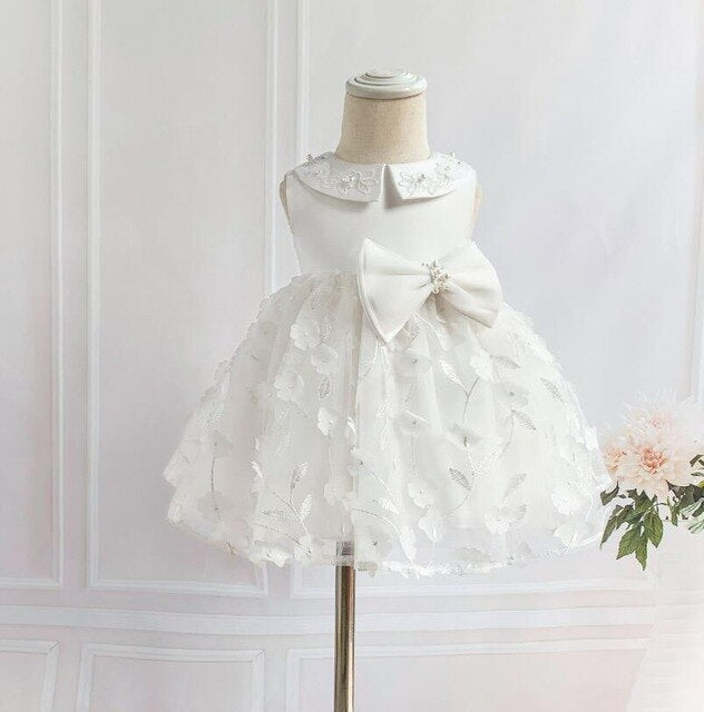 Newborn Dress For Baptism Sleeveless Baby Girl White Lace Christening Gown Dress Toddler 1st Birthday Party Infant Costumes
