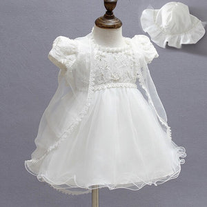 Infant 1 Year Birthday Party Dress Newborn Baptism Christening Gowns Baby Girl Dress With Shwal + Hat for Girls High Quality