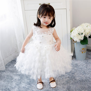 White Sequin lace Newborn Baby Girl 1 Year Birthday Dress For Baptism Toddler Girl Christening Dress Infant Princess Party Gown
