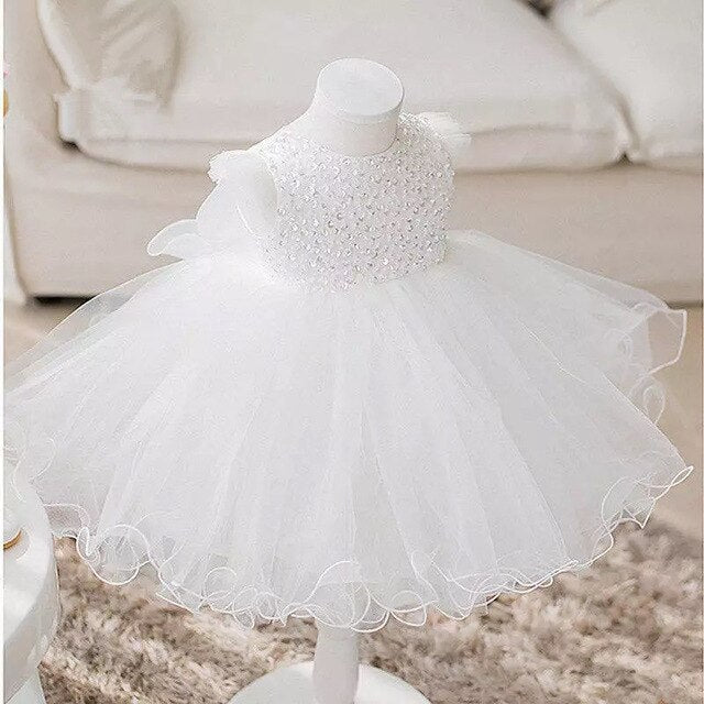 Sequin Newborn Baby Girls Dress Princess Birthday Party Formal Christening Gown Dress with Bow Infant Baptism Christening Gown