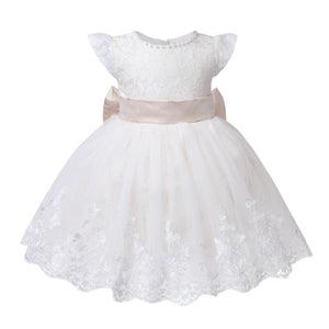 Baby Girl Dress Bead Lace Tulle Toddler Girl Christening Gown Big Bow Infant Party Baptism Dress for Newborn 1 Year Birthday