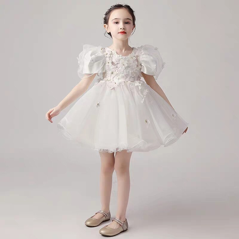 Newborn Baby Kids Christening Gown White Flowers Prom Dress Girl Birthday Party Infant Clothing Tutu Tulle Toddler Girls Clothes