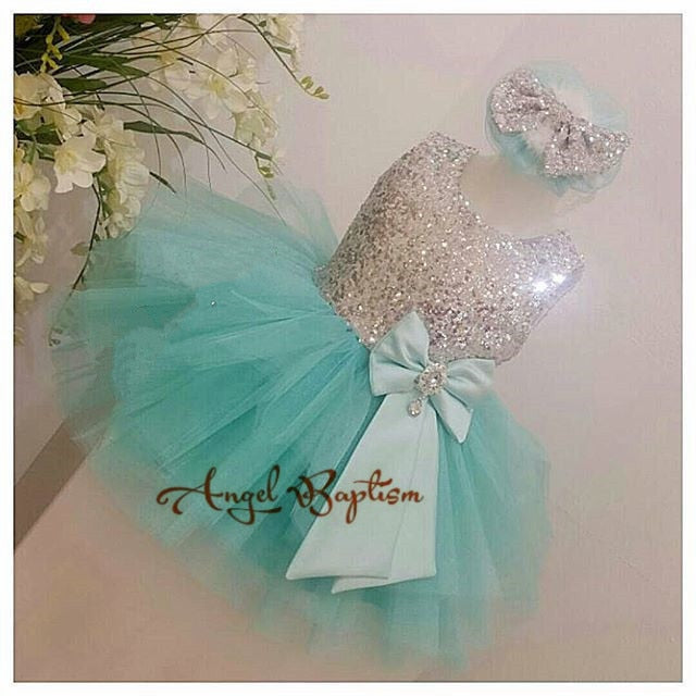 Mint green cute tutu toddler pageant dress sparkly sequin tulle baby 1st birthday party outfits newborn vestido de infant