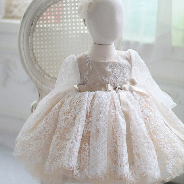 Newborn Baby Girls Dress for Baptism Christening 1st Birthday Infant Dresses Long Sleeve Tulle Party Prom Toddler Girl Clothes