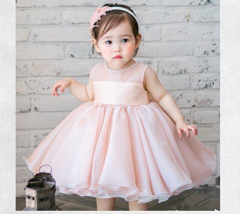 New Style Lovely Chiffon Flower Girl Dress with Bow Beading Custom Made For Newborn  Baby Baptism Birthday Party Gown Sleeveless