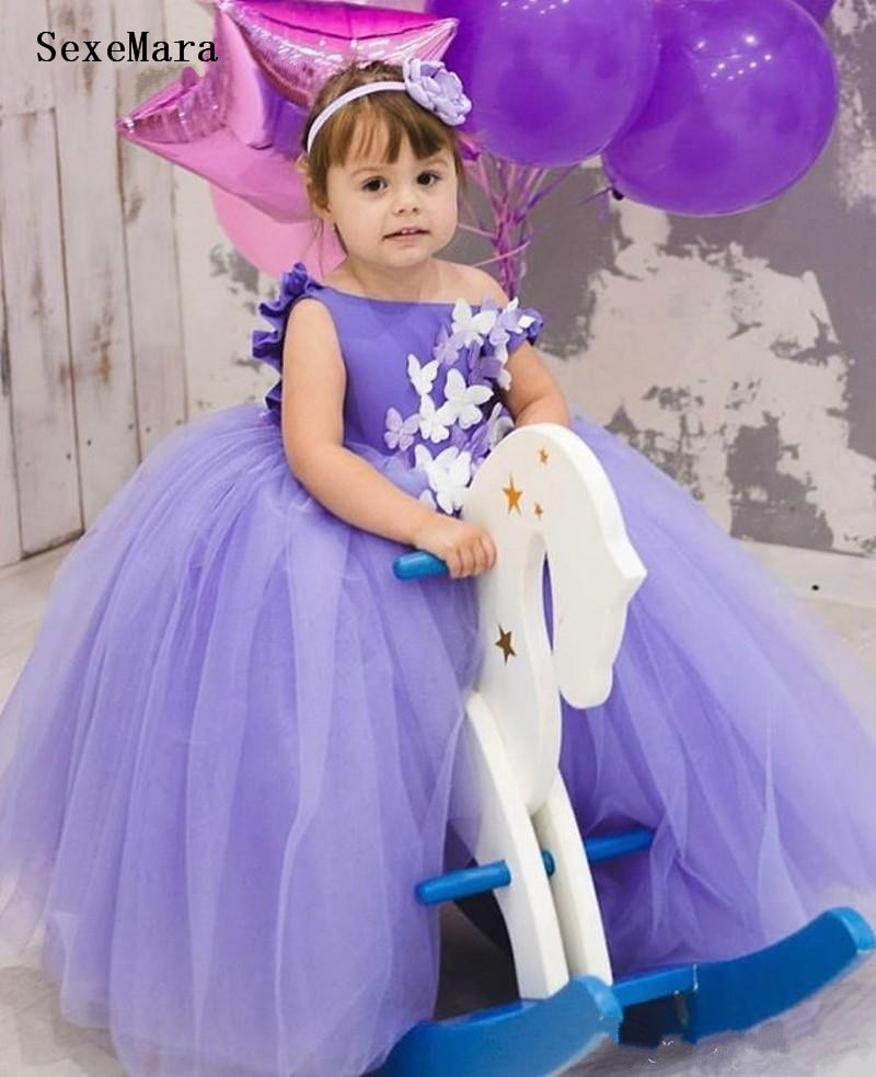 Purple Backless Princess Baby Dress for Girl Baptism Christening 1st Birthday Party Newborn Gift Infant Tutu Girls Gown