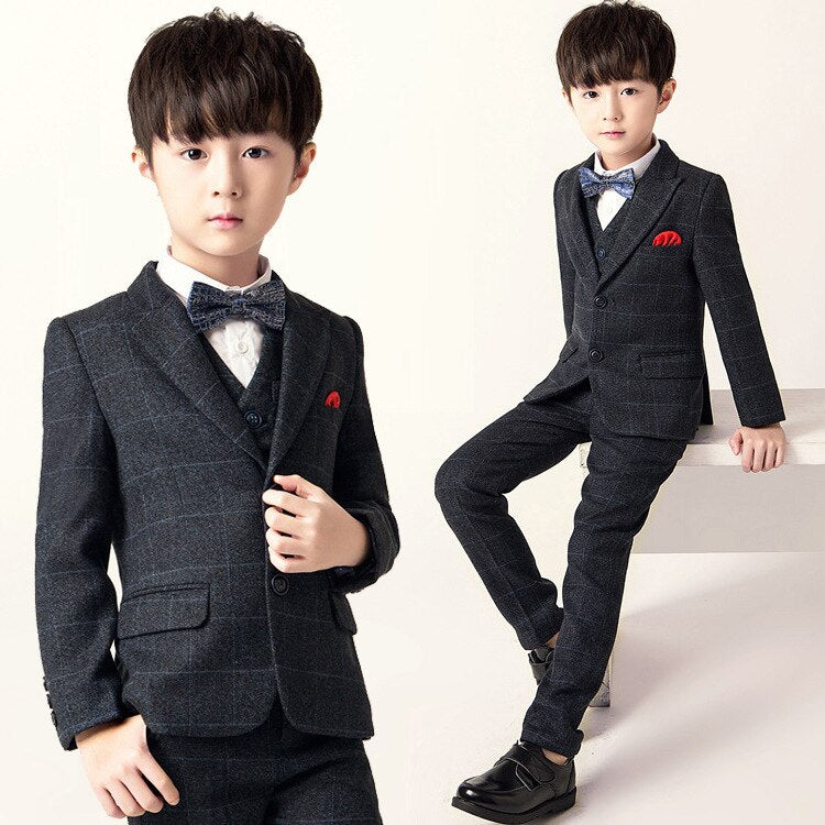 Children Formal Dress Suit Set Flower Boy Wedding Piano Performance Costumes Kids Blazer Vest Pants Shirts Bowtie Clothes 2-16t