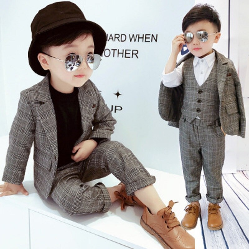 2018 autumn/winter new children's suit set plaid suit ma folder two-piece set three-piece set British academy