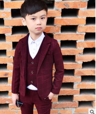 Autumn New 3-piece set Kids Plaid Wedding Blazer Suit Brand Flower Boys Formal Tuxedos School Suit Kids Spring Clothing Set