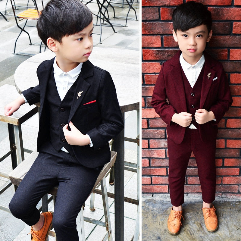 Boys Suits For Wedding 3Pcs/Set Child Wedding Formal Suit For Boy Party Sets Blazer Boy Clothing Blazers Clothes For Boys 3-10T